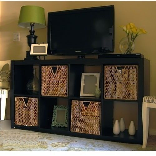 Attractive IKEA Expedit TV Stand Entertainment Center Multi Use Shelving Unit Black