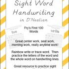 Fry's First 100 Words Handwriting Sheets