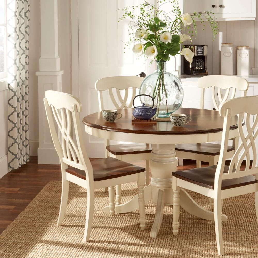 Antique White Dining Chairs Cushions For Outdoor Lounge 5 Piece Round And Warm Cherry Table Set Two Tone Top