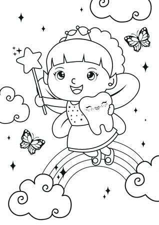 Tooth girl fairy coloring pages. Kids coloring book