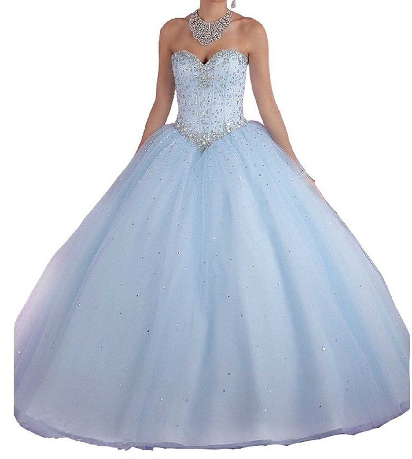 Amazon.com: Diandiai Women\'s Ball Gown Quinceanera Dresses Crystal ...