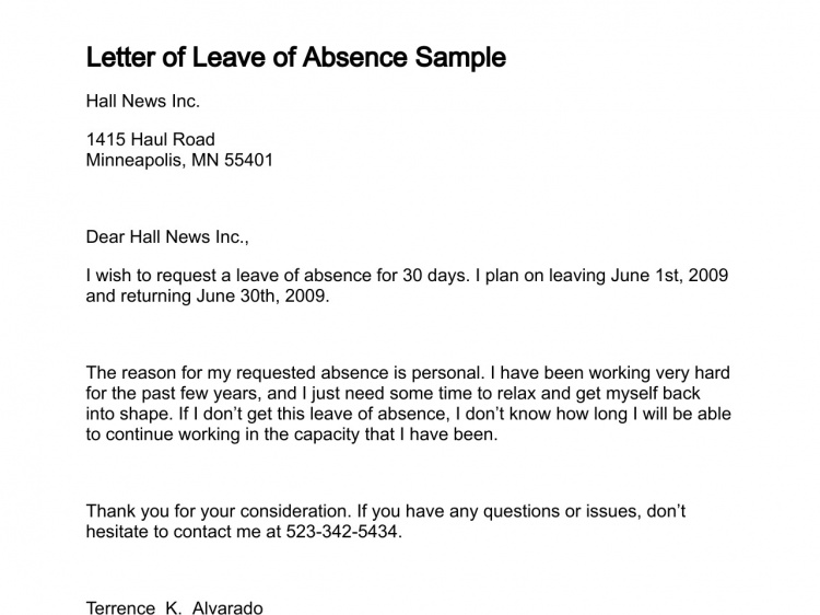 Leave Of Absence Letter Free Printable Documents