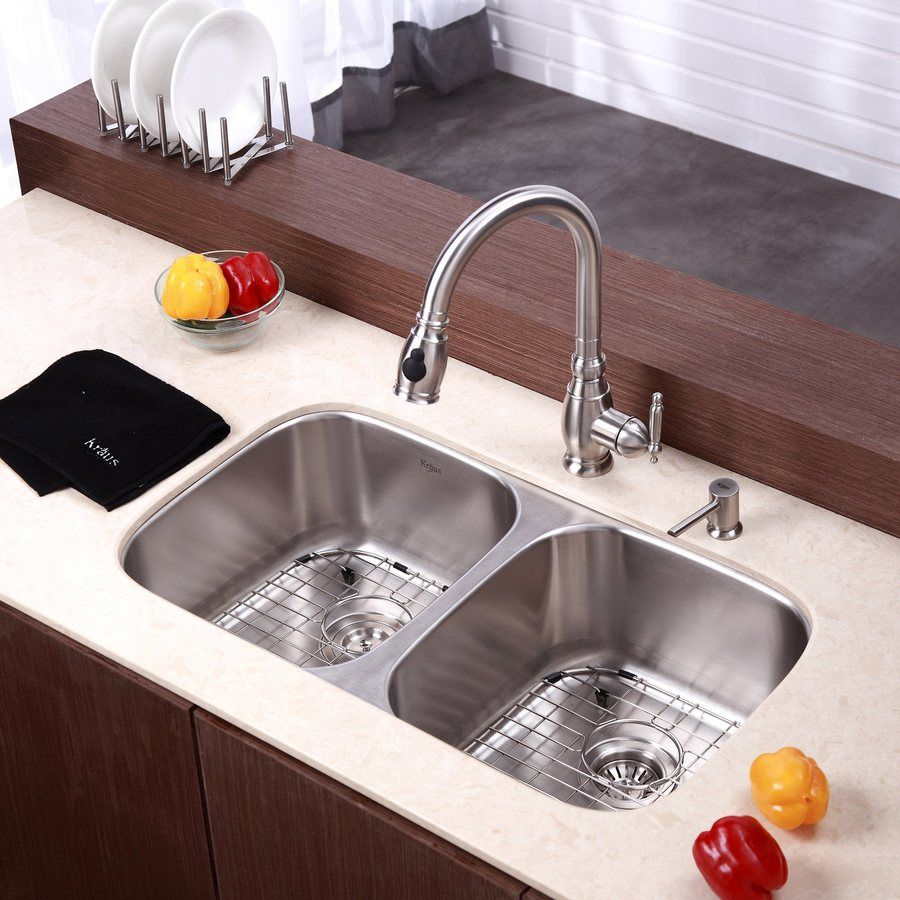 shop kraus 18 5 in x 32 25 in stainless steel double basin rh pinterest es
