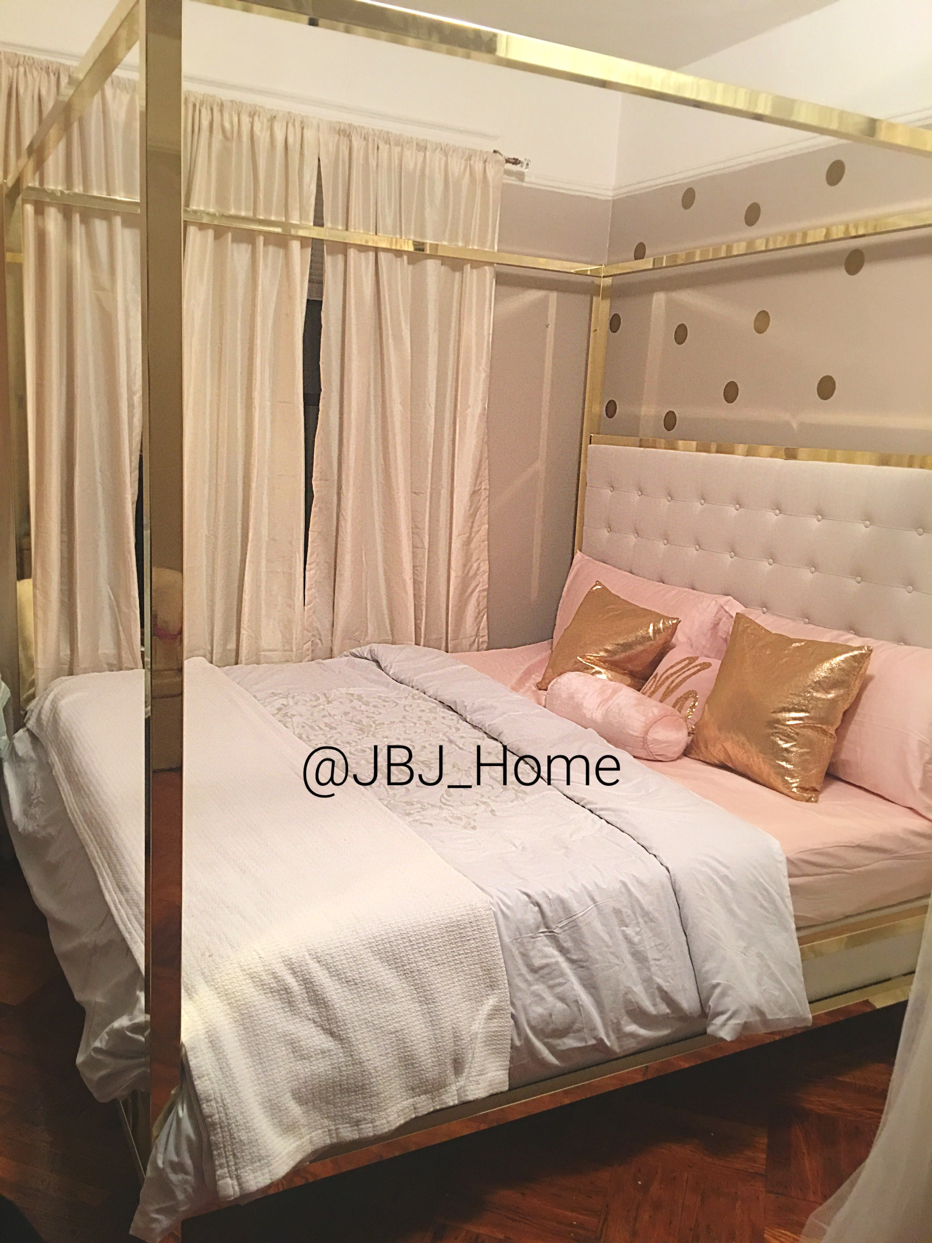 Just installed this beautiful gold mirrored canopy bed it is stunning and absolutely beautiful will be updating with pillows email decorbyjbjhomegmail