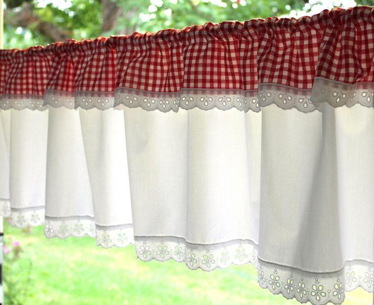 Gardine Landhaus mit Volant weiß rot kariert Sewing curtains - gardine für küche
