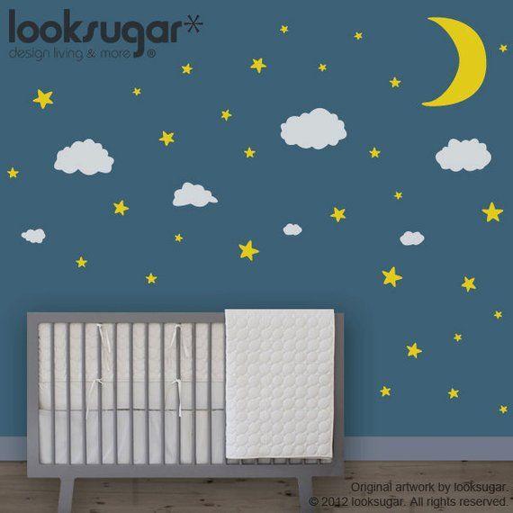 baby nursery wall decals - moon stars clouds - children wall
