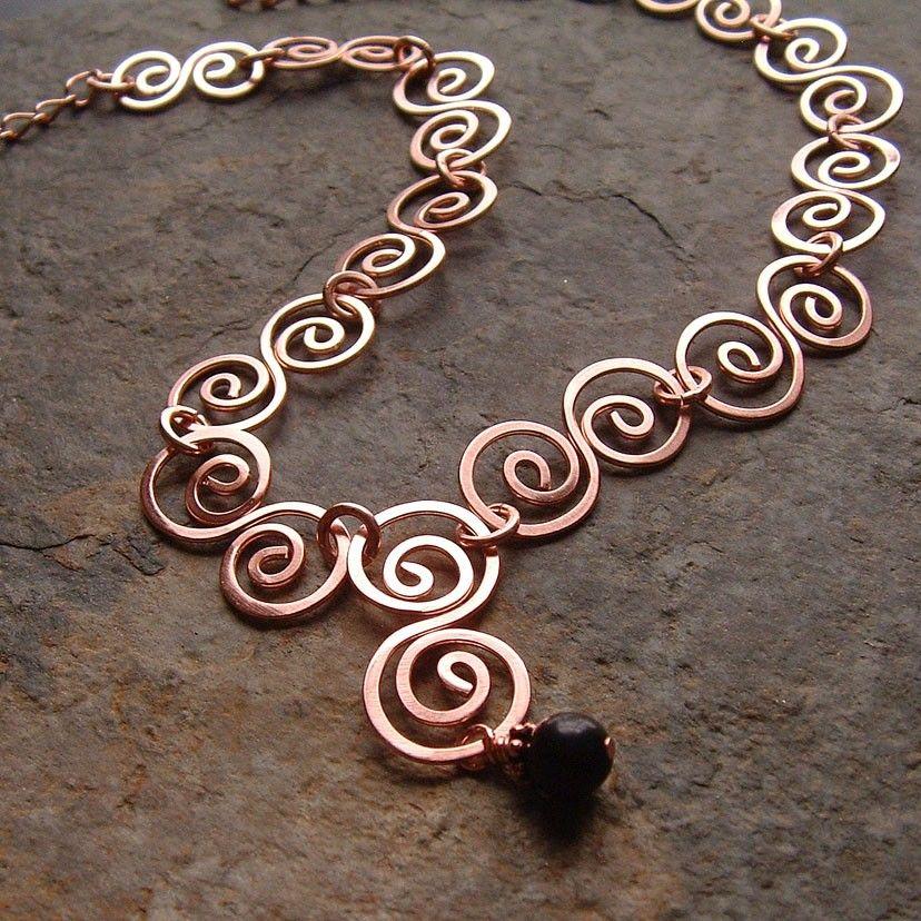 Copper necklace hammered copper swirls statement necklace for Hammered copper jewelry tutorial