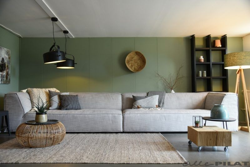 Grijze bank pelle wohnzimmer