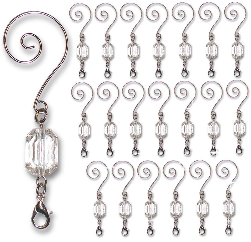 Amazon Com Decorative Ornament Hangers Clear Acrylic Silver Wire Ornament Hooks Pack Of 20 Home Kitchen Wire Ornaments Ornament Hooks Jewelry Hanger