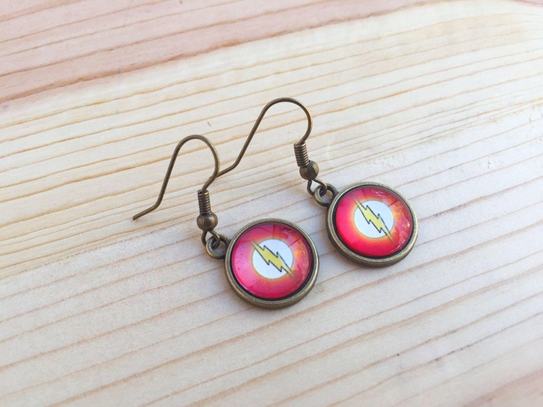 The Flash earrings; Flash earrings in silver or gold; super hero earrings; silver comic book earrings; gold comic book earrings by CraftingAwayTheFeels on Etsy