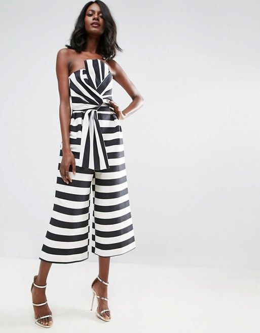 c9117976005d ASOS Jumpsuit in Structured Stripe with Knot and Drape Detail ...