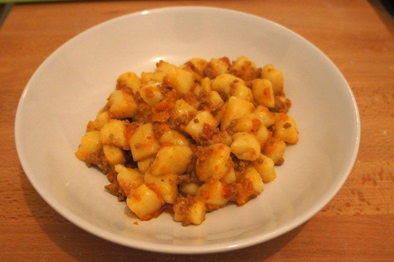 Potato Gnocchi Dumplings With Bolognese Sauce International Recipes Gnocchi Bolognese Sauce