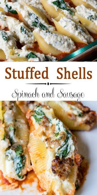Stuffed Shells with Spinach #easysausagerecipes