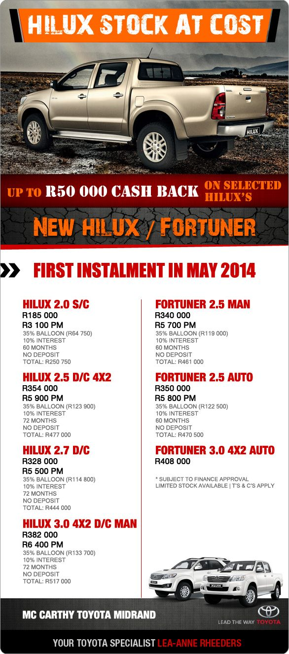 Up To R50 000 Cash Back On A Toyota Hilux Single Cab Now From R3