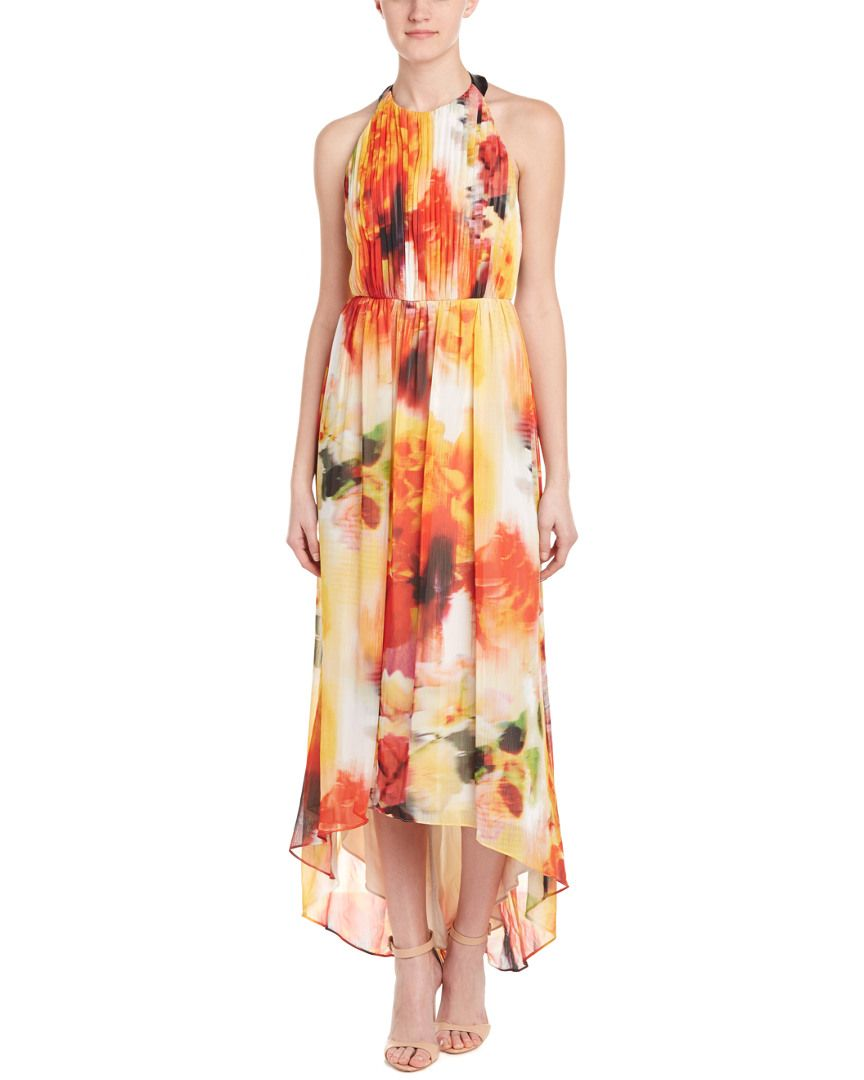 Peach dress for wedding guest  alice  olivia Ryan LeatherTrim Maxi Dress is on Rue Shop it now