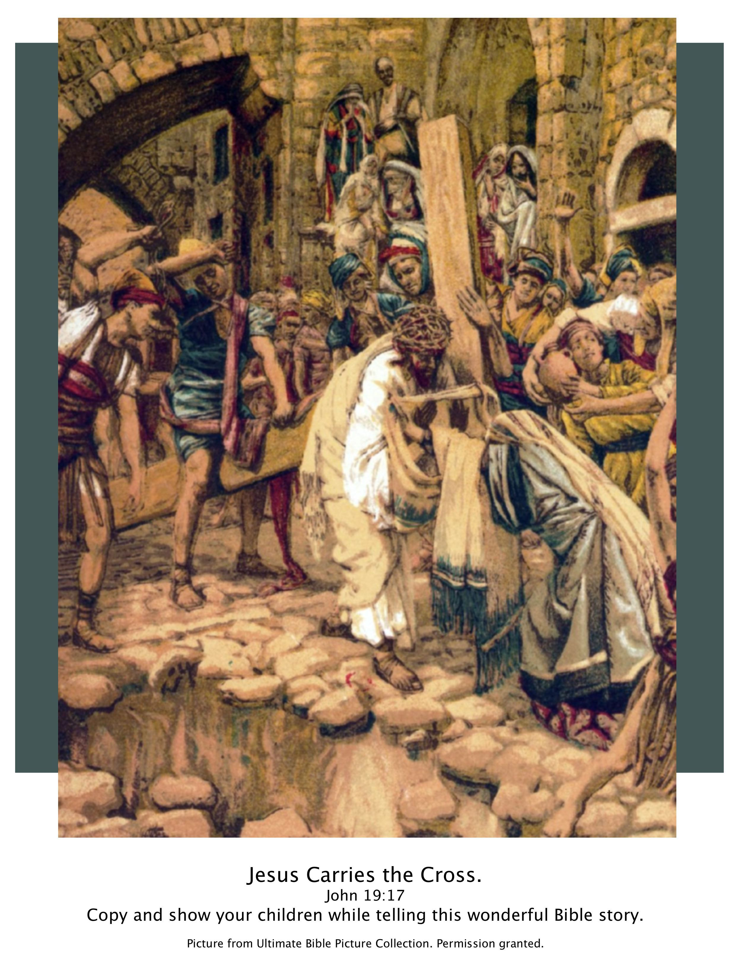 bible story picture of jesus carrying cross john 19 17 show your