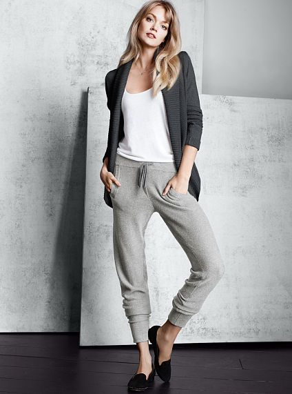 003b37faa9a3a Shawl-collar Cardigan Sweater and the Modern Sweatpants with a ...