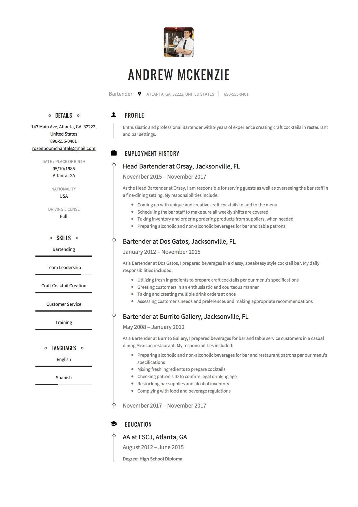 Cashier Job Description For Resume Amazing Free Bartender Resume Sample, Template, Example, Cv. | Cv Examples Review
