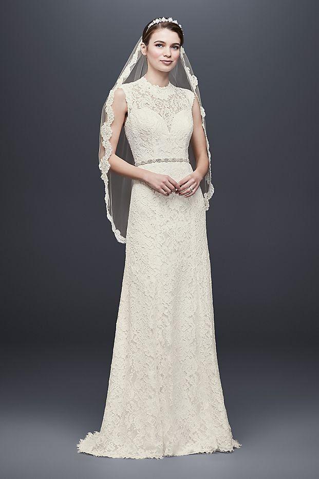 63eebf86 Allover Lace Cap Sleeve Sheath Wedding Dress | David's Bridal, lace wedding  dress, high neck wedding dress