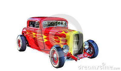 custom painted red hotrod with yellow flames and white wall tires