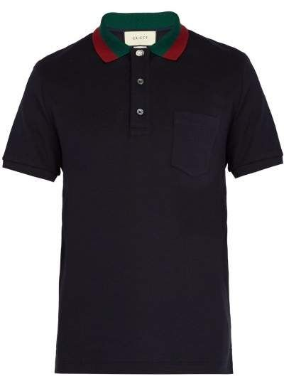 3cd24c16fbe Gucci Web Striped Collar Polo Shirt - Mens - Navy