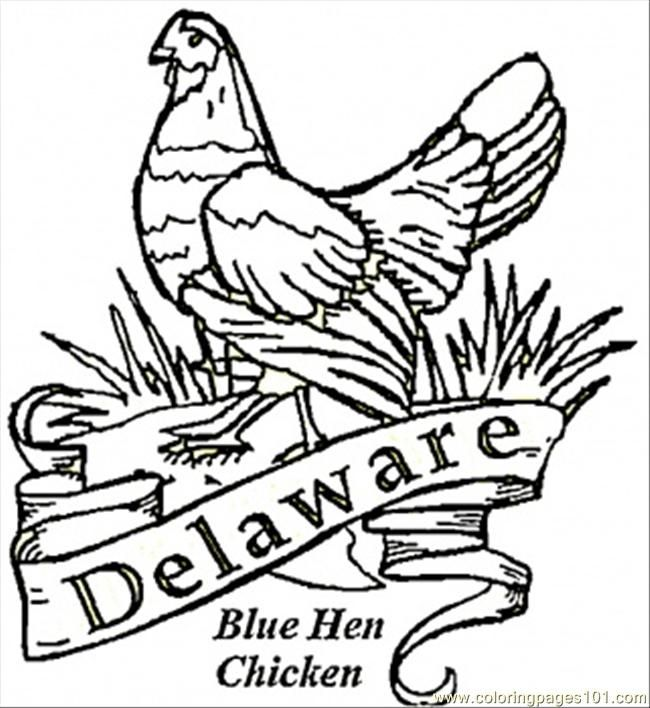 Blue Hen Bird Of Delaware Coloring Page