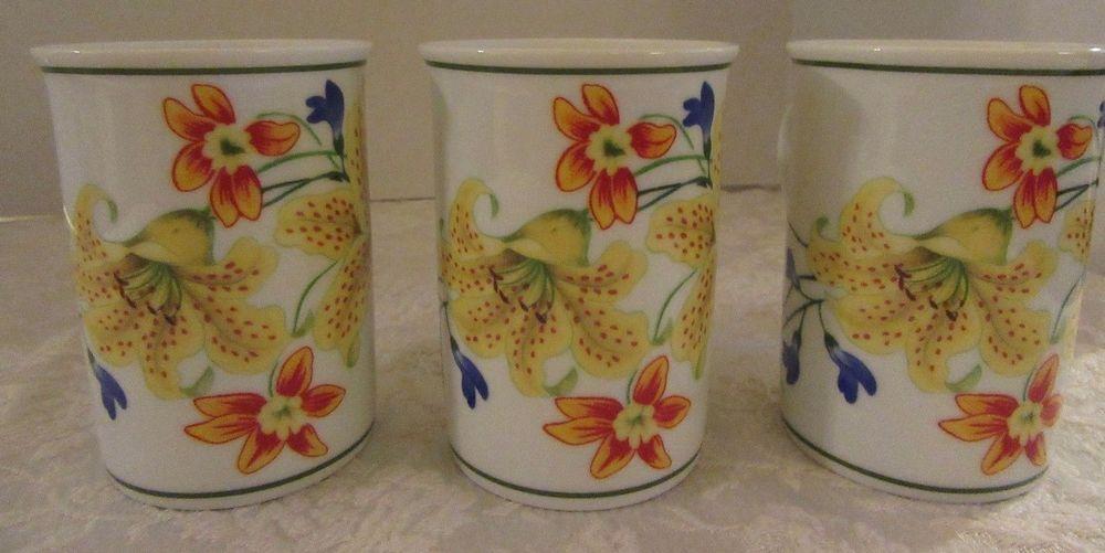Lynn Chase Flores Coffee Mugs Cups 1996  Set of 3 Yellow Daylillies #LynnChase
