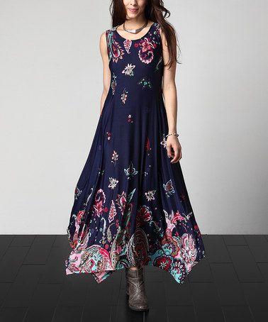 9b8749d8e8 Look what I found on  zulily! Navy Floral Paisley Sleeveless Handkerchief  Maxi Dress - Plus  zulilyfinds