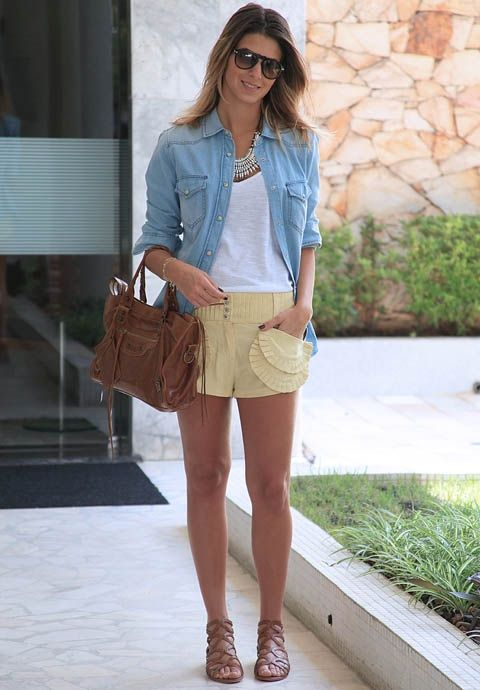 Shorts com camisa jeans