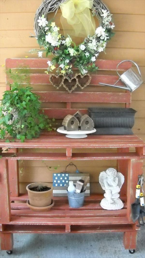 Terrasse Dekorieren Mit Gartenmöbel Aus Paletten In Braun