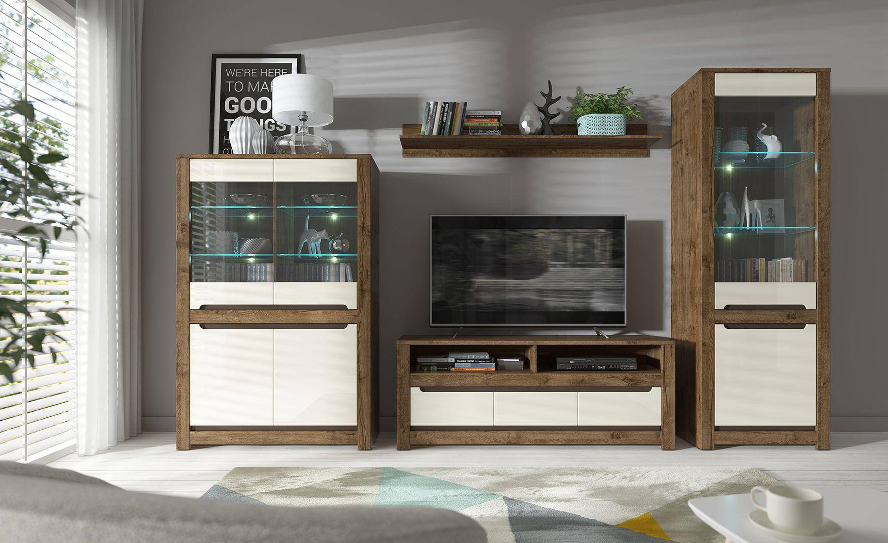 Cream Gloss Dark Oak Living Room Furniture Retro Modern Cabinet Storage Shelf Displa Dark Oak Living Room Furniture Living Room And Dining Room Decor Furniture