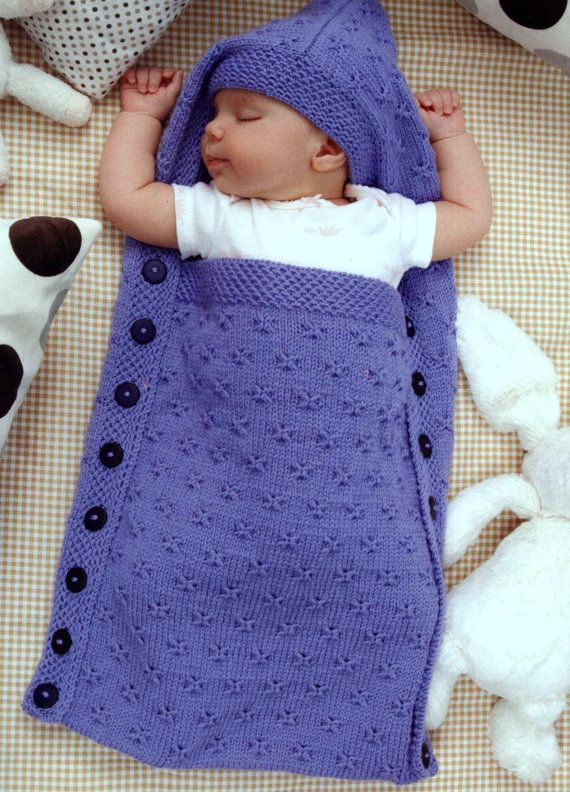7d24a295f Knitting Pattern Baby Sleeping Bag Cocoon Sleep Sack Papoose ...