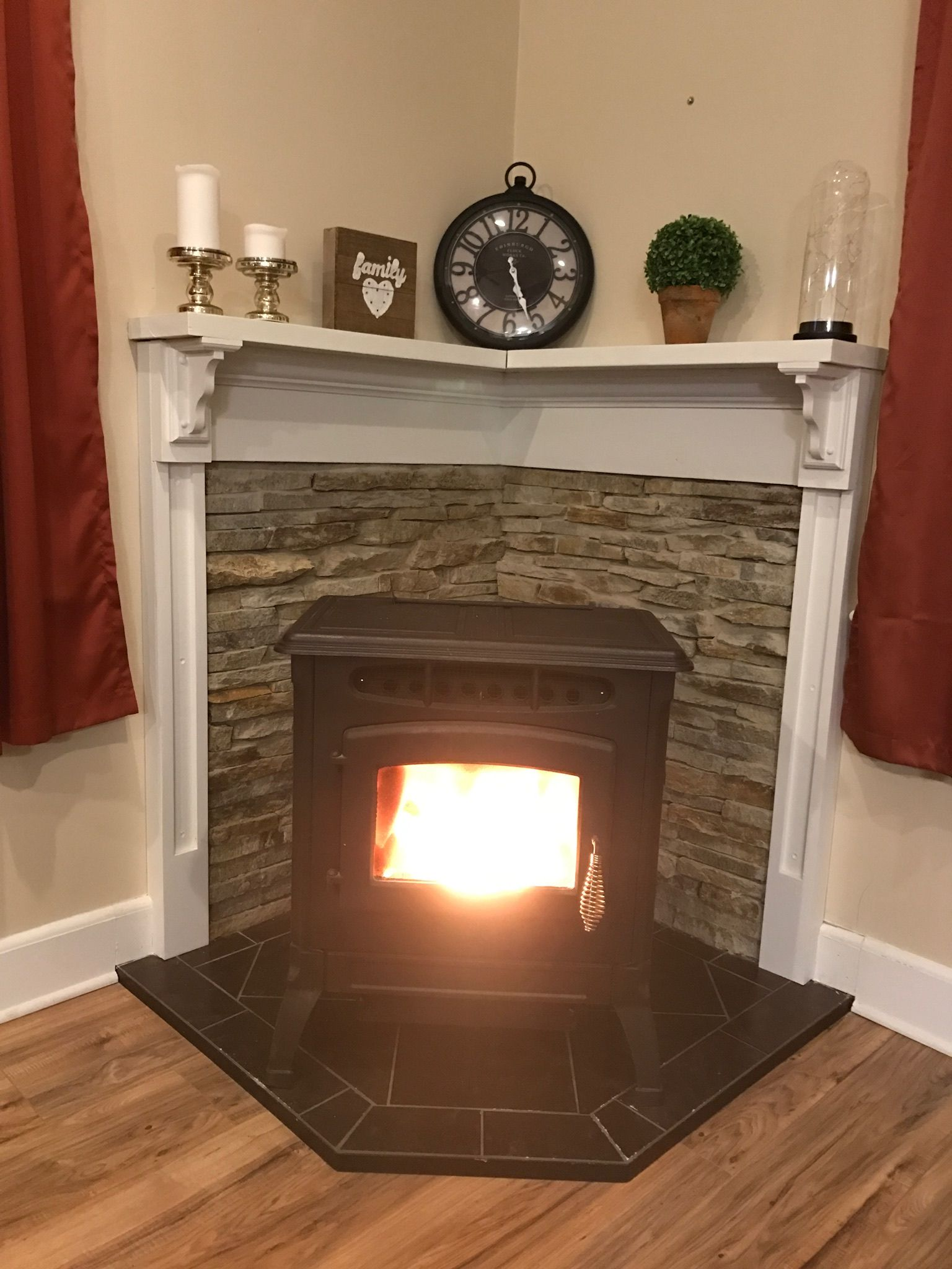 Pellet stove stone wooden mantle