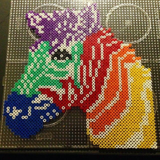 Colorful zebra perler beads by rachelhobbsx