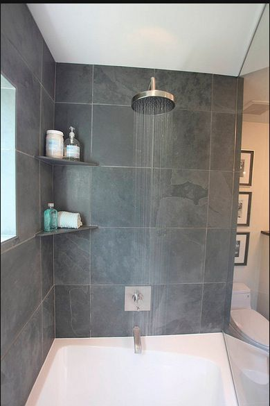 shower with corner shelf and rain head bathroom shower shelves rh pinterest com