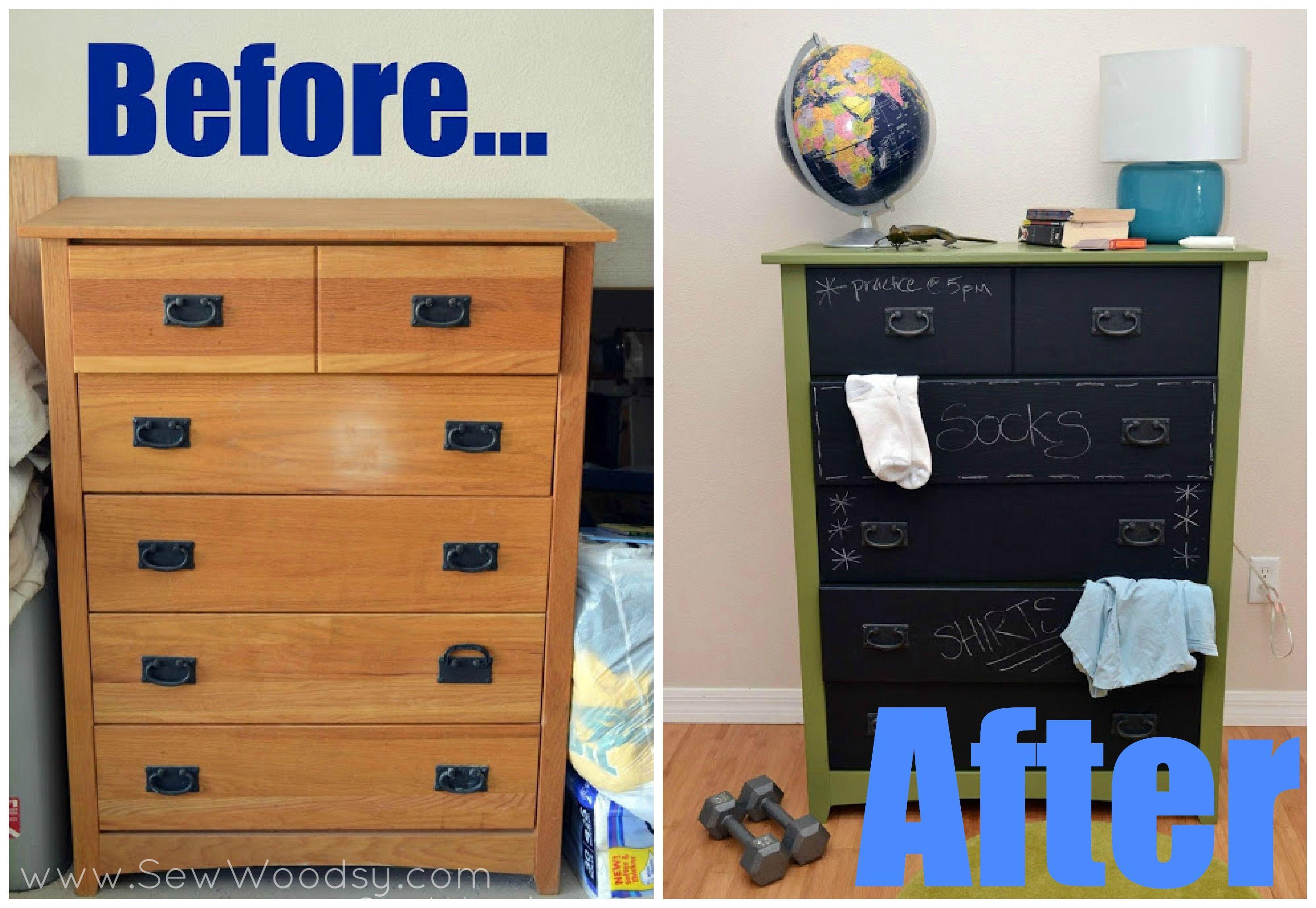 Chalkboard Paint Before After Diy Chalkboard Painted Dresser