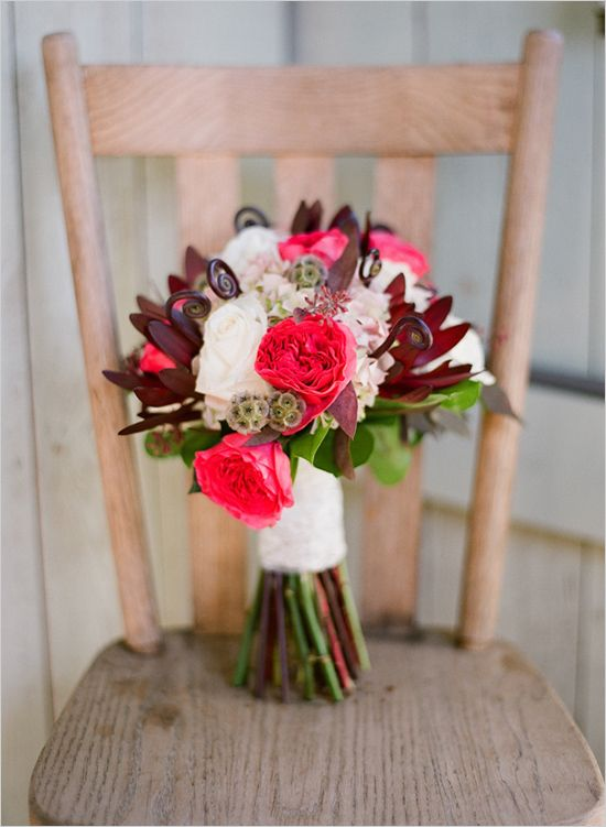 red and white wedding bouquet by The Enchanted Florist  http://www.hotchocolates.co.uk http://www.blog.hotchocolates.co.uk
