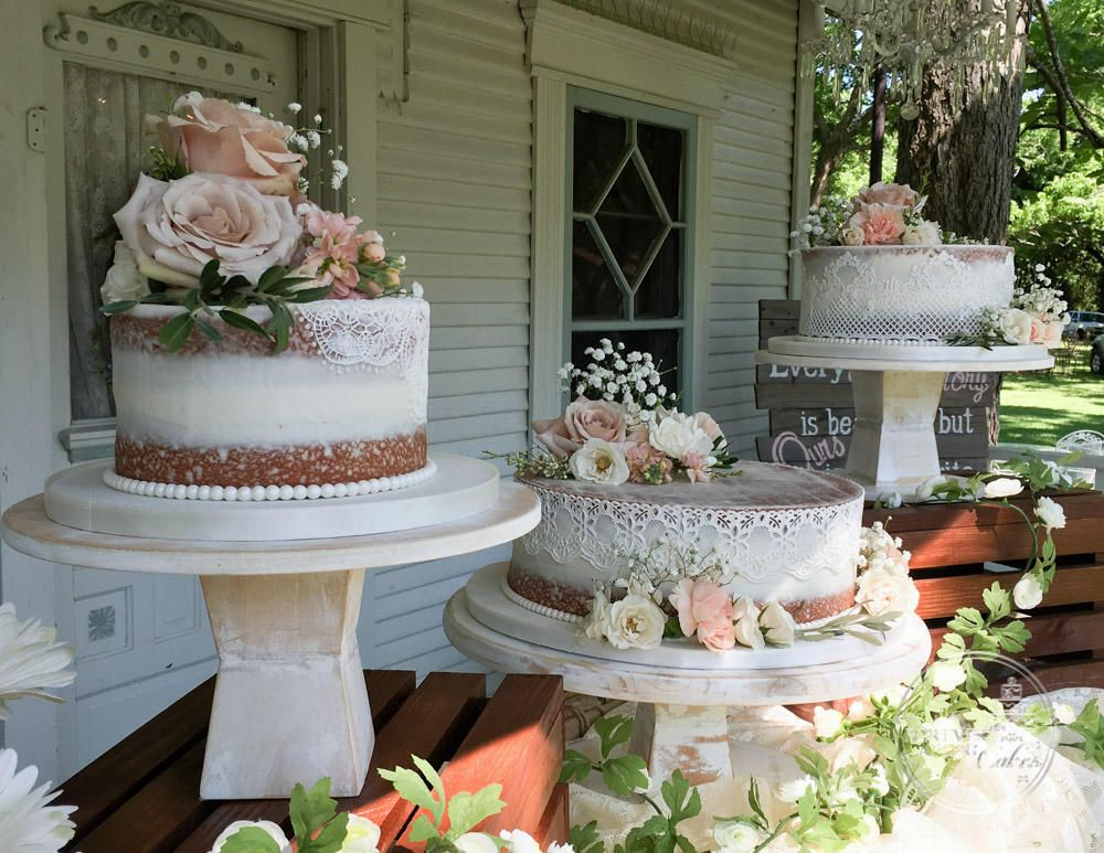 shabby chic bridal shower cakes%0A Unstacked Shabby Chic Naked Wedding Cake with Edible Cake Lace and Fresh  Flowers