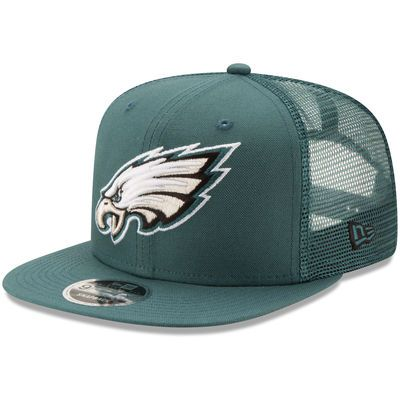 Philadelphia Eagles New Era Trucker Patched 9FIFTY Snapback Adjustable Hat  - Midnight Green aa64a1863382