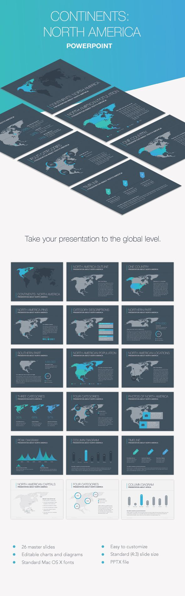 Continents north america powerpoint template templates continents north america powerpoint template toneelgroepblik Image collections
