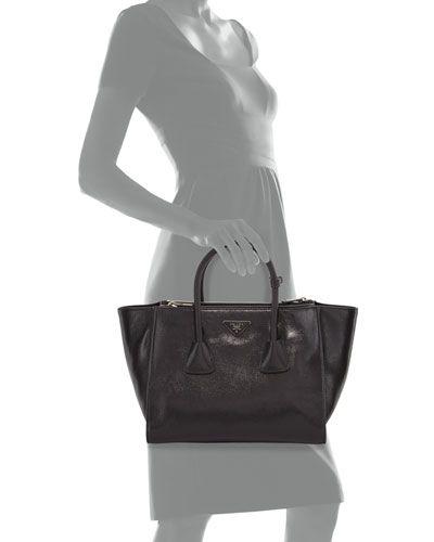 3c94a8d9feb5 Prada Glace Calf Twin Pocket Tote Bag
