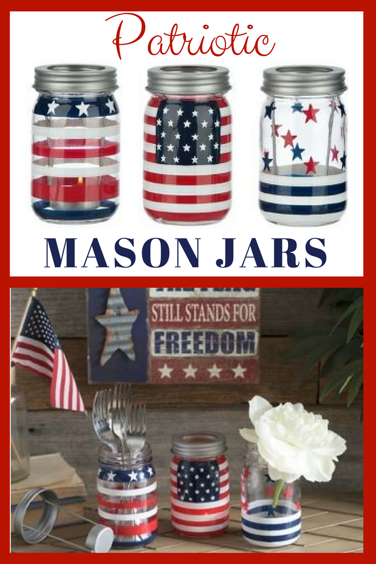 I love these patriotic american flag handpainted mason jars could