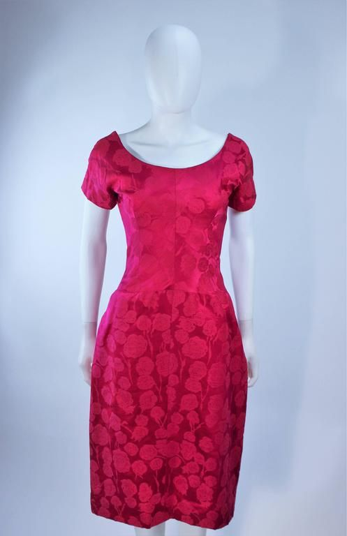 SCHIAPARELLI Attributed Pink Brocade Cocktail Dress 1950