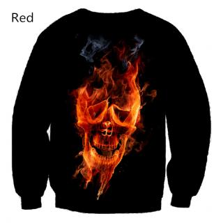3D Flame Skull Sweatshirt Cotton Crew Neck Sweatshirts