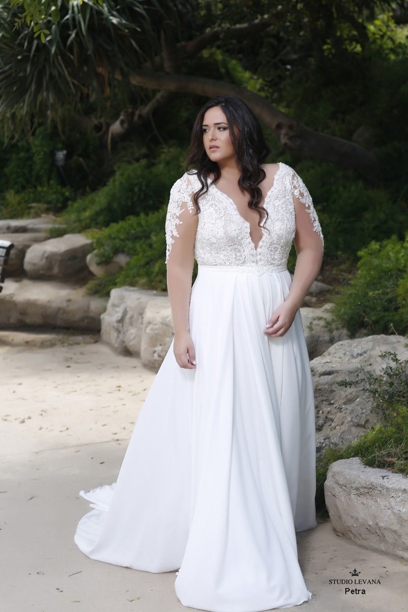 Beautiful Plus Size Wedding Gown With Deap V And Illusion Long Sleeves Pet Plus Size Wedding Dresses With Sleeves Plus Wedding Dresses Plus Size Wedding Gowns
