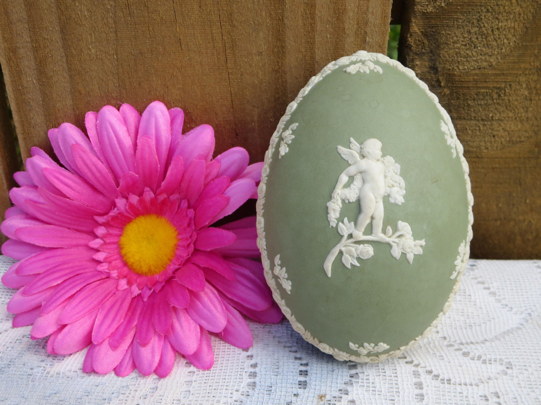 Green Wedgewood Trinket Keeper, Oval Green Trinket Keeper, Egg ...