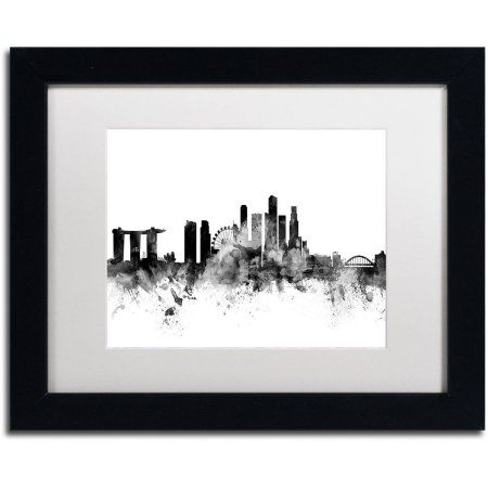trademark fine art singapore skyline b canvas art by michael tompsett white matte black
