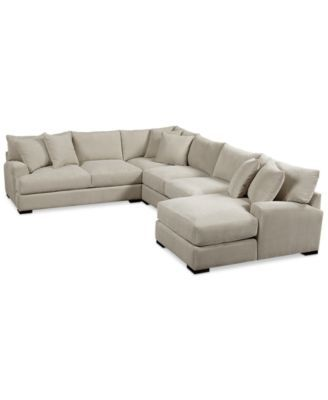 Furniture Rhyder 4 Pc 112 Sectional Sofa With Chaise Fabric Sectional Sofas Fabric Sectional
