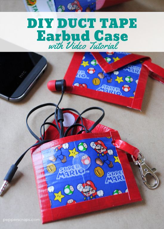 easy diy duct tape earbud case duct tape fans and duct tape crafts. Black Bedroom Furniture Sets. Home Design Ideas