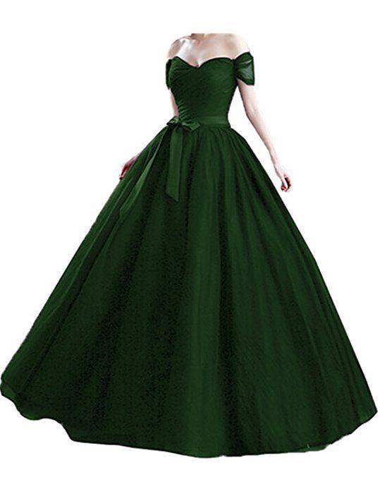 Tulle Off Shoulder Long Evening Gowns Plus Size Formal Dresses Women ...